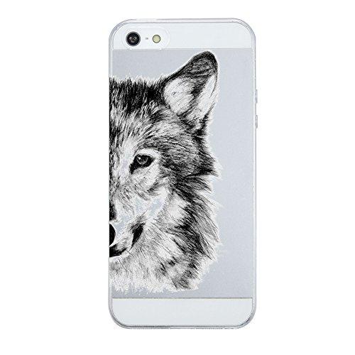 Caler Hülle Kompatibel/Ersatz für iPhone SE/5S/5 Hülle Silikon Transparente Ultra Slim TPU dünne stoßfeste mit Motiv Tasche Etui Schutzhülle Case Cover(Wolf)