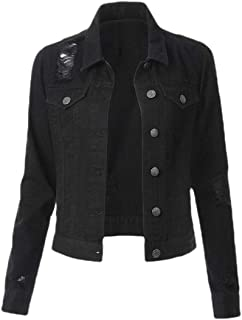 Women Long Sleeve Denim Jacket Ripped Jean Jacket Boyfriend Coat