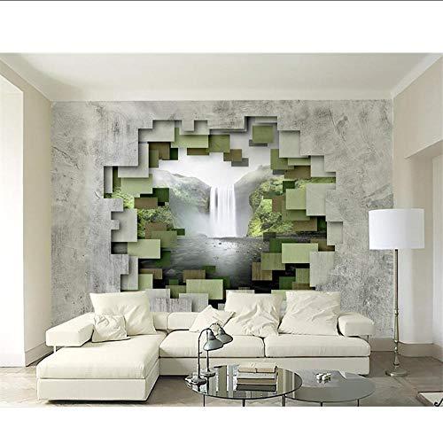 3D Wallpaper Polygon Geometrische Beton Muur Waterval Fotobehang Moderne Home Decoratie Wandpapier MRQXDP Papel de Parede 280x424cm