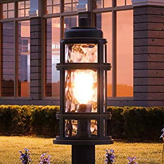 """Luxury Nautical Outdoor Post/Pier Light, Large Size: 21.5""""H x 9""""W, with Industrial Style Elements, Parisian Bronze Finish, UQL1274 from The Doncaster Collection by Urban Ambiance"""