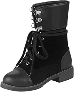 Sturrly🌻Womens Round Toe Military Lace up Knit Ankle Cuff Low Heel Combat Boots Ankle Booties