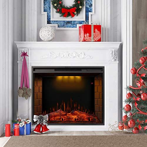 Zoomarlous 28 Zoll Elektrokamin Elektrischer Kamin mit Heizung Wandkamin LED Flamme Timer Schwarz E-Kamin für Wohnzimmer Schlafzim…