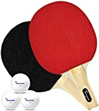 Brookwood Supplies 2 Player Table Tennis Set – 2 Ping Pong Paddles, 3 1-Star Balls - Double-Sided 5 Ply Rackets with Rubber Pimples Out Pads and Straight Handle