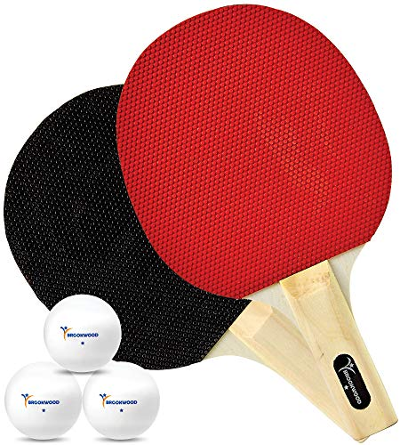 Brookwood Supplies 2 Player Table Tennis Set – 2 Ping Pong Paddles 3 1Star Balls  DoubleSided 5 Ply Rackets with Rubber Pimples Out Pads and Straight Handle