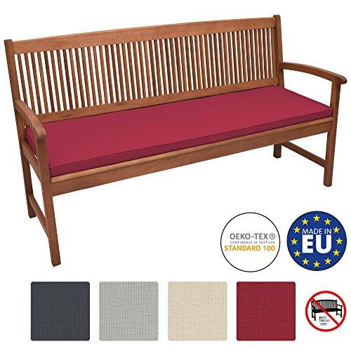 Beautissu Bankauflage Base BK ca. 120x48x5 cm Bequeme Polster für Garten-Bank mit abnehmbarem Bezug in Rot & in div Farben wählbar