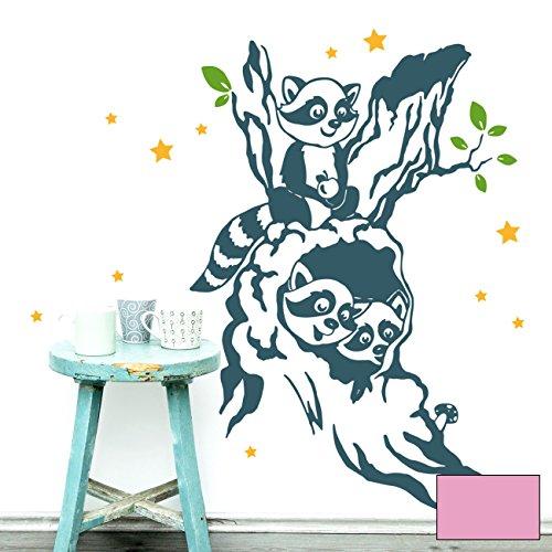 ilka parey wandtattoo-welt Sticker Mural Motif Tableau Arbre Autocollants ratons laveurs Raton Laveur Enfants avec étoiles m1915, Rose Bonbon, L - 50cm breit x 75cm Hoch