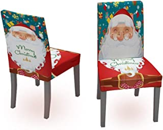 Muuyi Stretch Chair Cover for Living Room Santa Claus Christmas Decor Chair Slipcover Chair Protector Seat Cover for Dining Furniture Ceremony Hotel for Party, 2 Pack