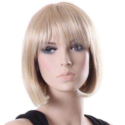 Songmics Perücke Frauen Damen Haar Wigs Blond Kurz Glatt für Karneval Fasching Cosplay Party Kostüm WFY098
