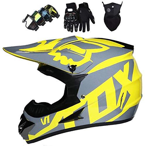 Casco de motocicleta/moto con guantes/gafas/máscara, casco unisex de cross de quad todoterreno, casco de motocross para jóvenes y adultos con diseño de Fox, certificación ECE