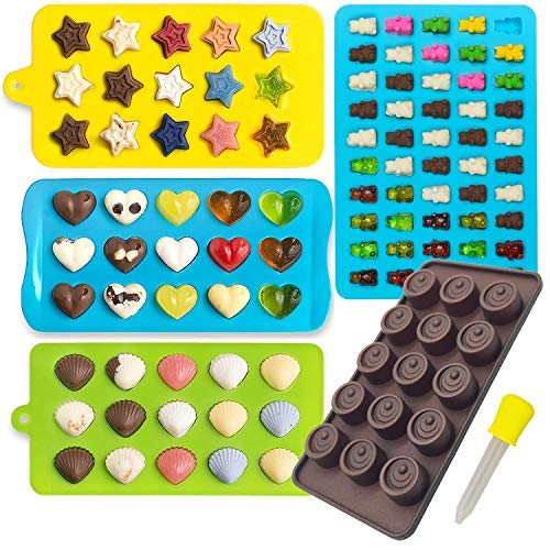 Candy Molds & Silicone Chocolate Mold | Jello & Ice Cube Trays | Set of 4