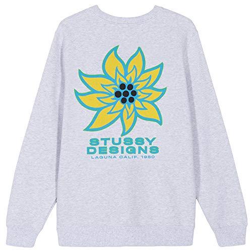 Stussy Womens Laguna Flower Crew 2911155 Ash Heather Sweatshirt für Damen, Grau S