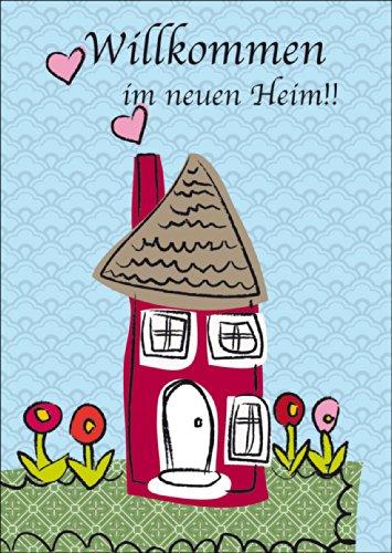Glückwunschkarte mit Haus zum Umzug oder Einzug ins neue Heim • auch zum direkt Versenden mit ihrem persönlichen Text als Einleger. • lustige Grußkarte mit Umschlag, hochwertig und schön