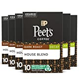 Peet's Coffee Decaf House Blend K-Cup Coffee Pods for Keurig Brewers, Dark Roast, 60 Pods
