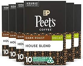 Peet's Coffee K-Cup Pods, Decaf House Blend, Dark Roast, 10 Count (Pack of 6)