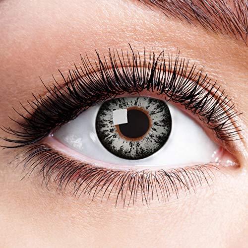 Farbige Kontaktlinsen Grau Motivlinsen Ohne Stärke mit Motiv Graue Linsen Halloween Karneval Fasching Cosplay Anime Kostüm Grey Brilliant Auge