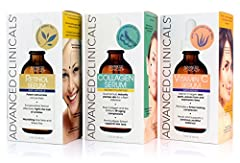 Advanced Clinicals face serum set with Collagen, Retinol, and Vitamin C has all your aging concerns covered! Retinol serum, made with Vitamin A (the #1 anti-aging ingredient recommended by Dermatologist helps fight off wrinkles. Collagen helps plump ...