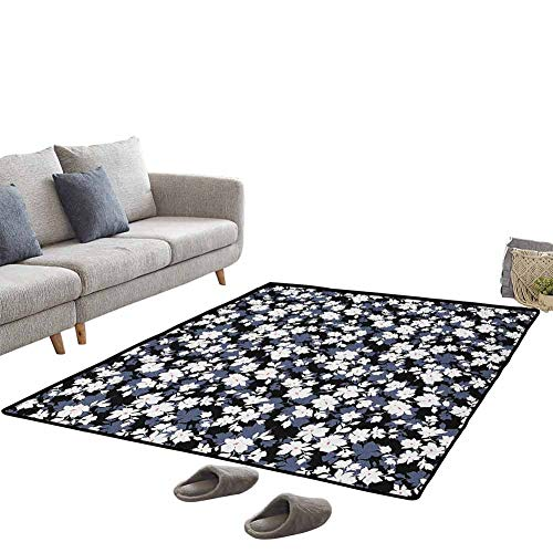 Flower Garden Pet Area Rug, Upgraded Luxurious,Comfort Underfoot Rubber Durable Non Slip for New Home,Easy Care, 4'x5' Black White Dimgrey