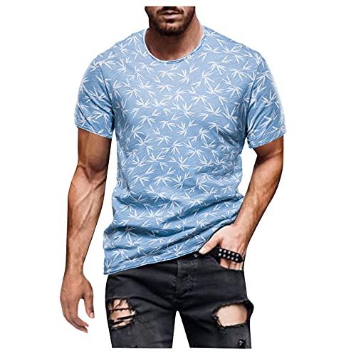 Camisetas de manga corta para hombre, de verano, de manga corta, con estampado retro, corte ajustado, básico. D_azul cielo. M