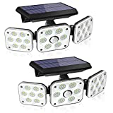 138 LED Solar Lights Outdoor, Motion Sensor Security Light with 270° Wide Angle, 3 Lighting Modes, IP65 Waterproof Solar Powered Wall Light for Garage, Front Door, Yard, Wall, Garden (2 Pack)