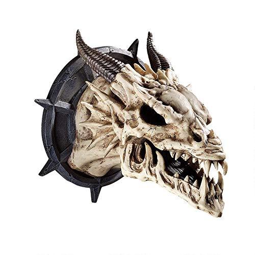 Design Toscano Trofeo con teschio di Drago con le corna Decorazione in stile gotico da parete, poliresina, avorio antico, 25 cm