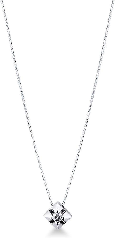 Gioielli di valenza - collana punto luce a griffe in oro bianco 18k con diamante B01FE2US82