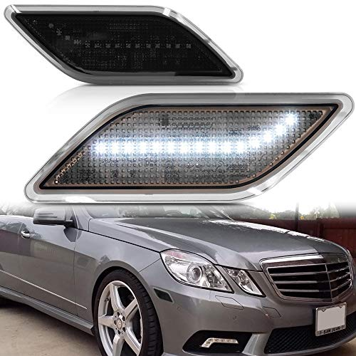Smoke Lens White LED Front Bumper Side Marker Light Kits for 2010-2013 Mercedes-Benz W212 E-Class Pre-LCI E350 E550 E63 AMG Sedan/Wagon Driver Fender LED Turn Signal Sidemarker Lamps Replacements