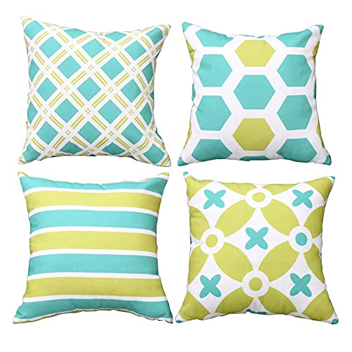 BEFAERY - Paquete de 4 Fundas de Almohada geométricas Frescas, Funda de Almohada de Lona de algodón Transpirable para sofá, Sala de Estar, Dormitorio