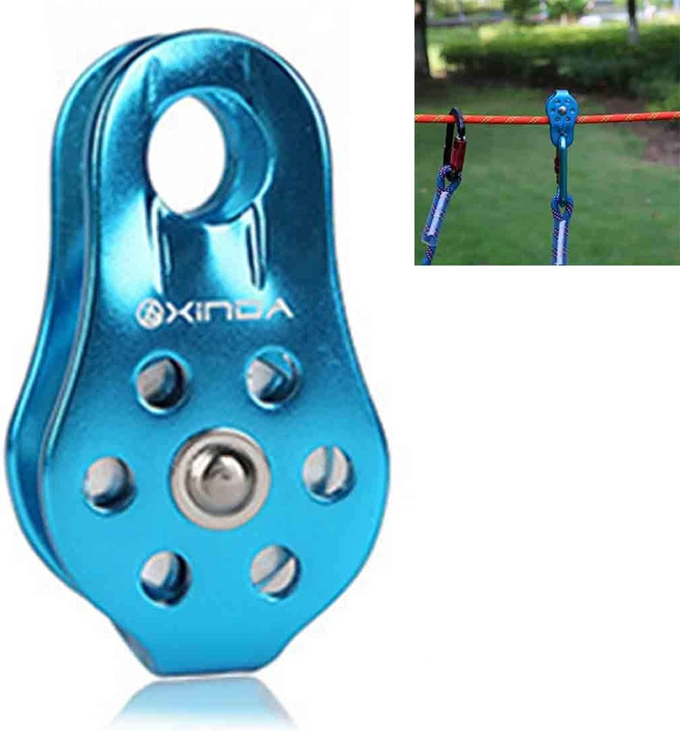 Beautiful Single Fixed Pulley Climbing Rope Climbing Downhill Survival Equipment, Size (Length x Width x Height)  8.2  4.4  2cm Home (color   blueee)