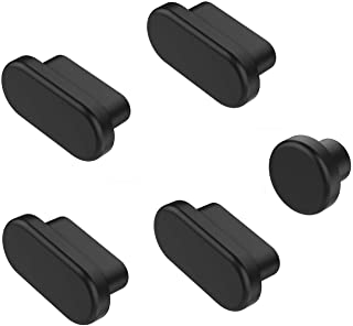 MOSISO 5 Pcs Anti Dust Dirt Plug Compatible with 2019 MacBook Pro 16 inch A2141, 2019 2018 MacBook Air 13 inch A1932, 2016-2019 MacBook Pro 13/15 inch, Silicone Port Plugs Cover Set Dust Cups, Black