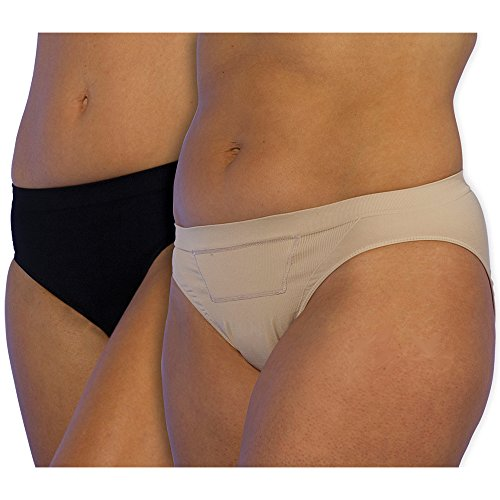 UpSpring Baby C-Panty C-Section Recovery Underwear, Postpartum Compression Panty with Silicone Scar Panel, Classic Waist (Large) Beige/Black
