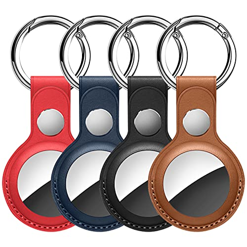 Leather Airtag Case for Apple AirTag, Keychain AirTags Case with Anti-Lost Key ring, [4 Pack] Protective AirTag Holder Case Cover, Finder Items for Dogs, Keys, Backpacks,Multi-Color Airtag Accessories