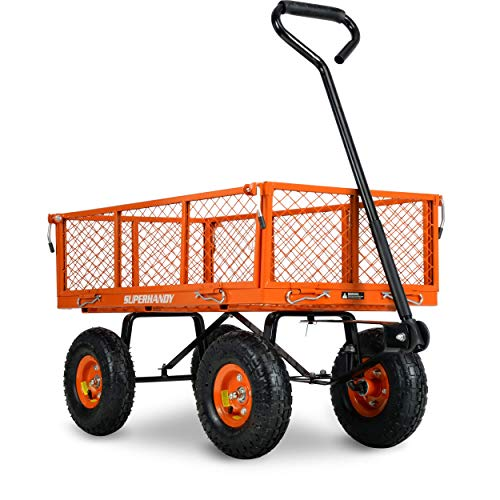 SuperHandy Wagon Utility Cart Hand Truck Manual Heavy Duty Lawn Garden with Removable Side Meshes 400 lbs Max Capacity