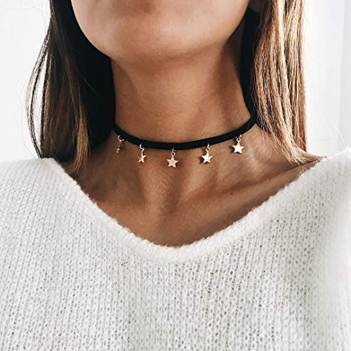 Catery Star Chockers Necklaces Black Chains Necklace Fashion Jewelry Chocker Accessories for Women
