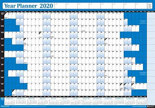 2020 Año Anuales Anual Oficina Hogar Organizador Pared Calendario Gráfica Póster/Incluye GB & Irlanda Bank Vacaciones y 2021 Pie Notas Calendario/Desmontado Unlaminated / 2 Sizes / 7 Colours