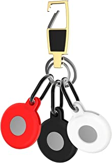 $25 » Keychain Ring Designed for Apple AirTag Soft Silicone Protective Case Cover AirTags GPS Finder Holder,Black White red with...