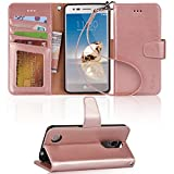 Arae LG Aristo Case, LG Phoenix 3 Case, LG K8 2017 Case, LG Fortune Case, LG Risio 2 Case, LG Rebel 2 LTE Case, Wallet Case with Kickstand and Flip Cover - Rosegold