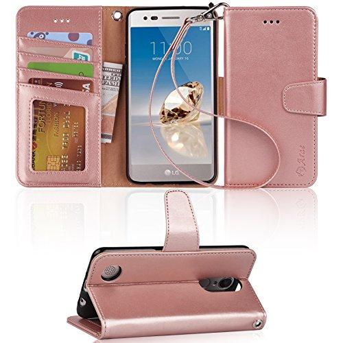 Arae LG Aristo Case, LG Phoenix 3 Case, LG K8 2017 Case, LG Fortune Case, LG Risio 2 Case, LG Rebel 2 LTE Case, Wallet Case with Kickstand and Flip Cover - Rosegold