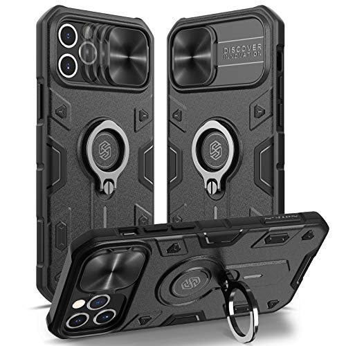 Nillkin Compatible with Case iPhone 12 Pro Max 6.7 inch - Military Grade Case with 360° Kickstand Ring Stand and Slide Camera Cover, PC & TPU Impact-Resistant Bumpers CamShield Armor Case, Black