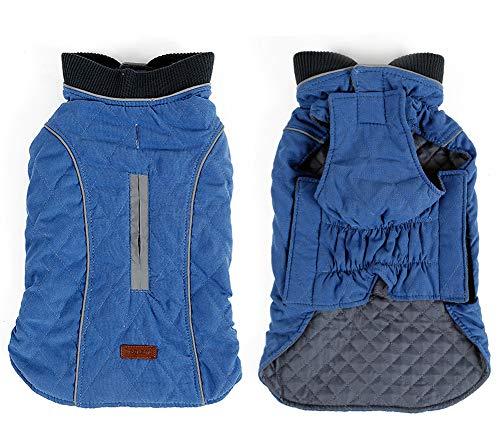 Penivo 6 Farben Haustier Jacke Hundebekleidung Wasserabweisend Winter Warme Kleidung Weste Reversible Winterjacken Mäntel für Kleine Mittelgroße Hund (M, Blau)