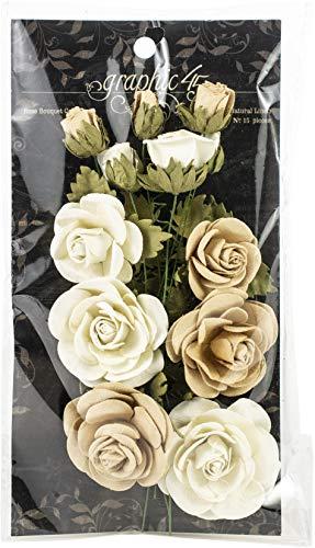 Graphic 45 Rosenstrauß-Kollektion – Klassische Papierblumen, elfenbeinfarben & naturfarben