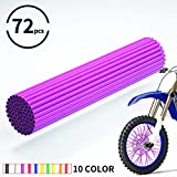 JOYON 72 Pcs Universal Spoke Skins Covers Coats for Motorcycle Dirt Bike Kawasaki Honda Yamaha BMW Suzuki(Purple)