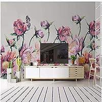 Xbwy 装飾壁画壁紙バラの花蝶の壁画リビングルーム結婚式の家背景壁画-120X100Cm