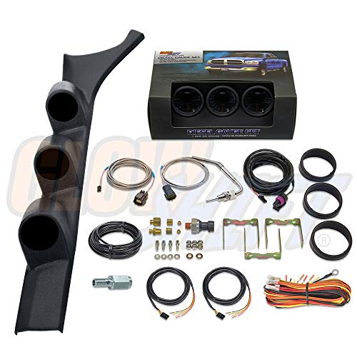 GlowShift Diesel Gauge Package for 1986-1993 Dodge Ram Cummins First 1st Gen - Tinted 7 Color 60 PSI Boost, 1500 F Pyrometer EGT & 30 PSI Fuel Pressure Gauges - Black Triple Pillar Pod