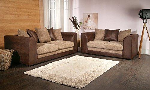 Dylan Byron Portobello Brown & Coffee Jumbo Cord & Rhino Sofa Couch 3+2 Seater by Dylan