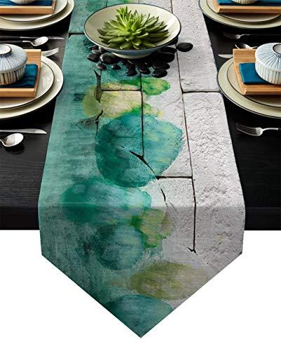Abows-Shop Leinen Sackleinen Tischläufer Kommode Schals, abstrakte Wandmalerei Kiefern Wald Küche Tischläufer für Abendessen Feiertagsfeiern, Hochzeit, Veranstaltungen, Dekor - 13 x 90 Zoll