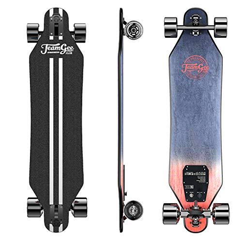 Teamgee H5 Elektrisches Skateboard,32KPH Höchstgeschwindigkeit,17KM Maximale Reichweite,760W Doppel Motor,14Lbs,Maximale Belastung 220 lbs,10-lagiges Maple Longboard mit drahtloser Fernbedienung