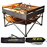 Pop-Up Fire Pit - Portable Outdoor Fire Pit and BBQ Grill | Packs Down Smaller than a Tent | Two Carrying Bags Included | X-Large Grilling Area (Fire Pit, Heat Shield, and Quad-Fold Grill Included)