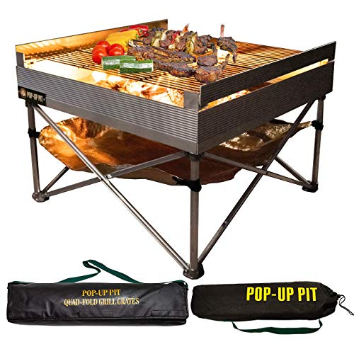 Pop-Up Fire Pit - Portable Outdoor Fire Pit and BBQ Grill | Packs Down Smaller than a Tent | Two...