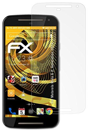 atFolix Panzerfolie kompatibel mit Motorola Moto G 2. Generation 2014 Schutzfolie, entspiegelnde & stoßdämpfende FX Folie (3X)