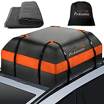 Fivklemnz Car Roof Bag Cargo Carrier 15 Cubic Feet Waterproof Rooftop Cargo Carrier with Anti-Slip Mat + 8 Reinforced Straps + 4 Door Hooks Suitable for All Vehicle with/Without Rack